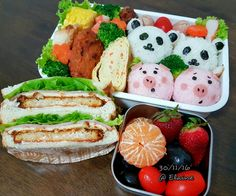 Breakfast  and  lunch bento . . . .  #sgfood #sg #breakfast #lunchtime #lunch #lunchbox #homecooked #homemade #vegetables #veggies #eggs  #chicken #cheese #ham #healthyfood #healthy #healthyeating #fruit #fruits #eggrolls #seaweed #sushi #bentobox #bento #sandwich #strawberrys #chickenwings #corn #riceball #cute #kawaii # grape
