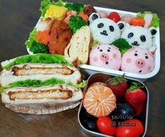 Breakfast  and  lunch bento . . . .  #sgfood #sg #breakfast #lunchtime #lunch #lunchbox #homecooked #homemade #vegetables #veggies #eggs  #chicken #cheese #ham #healthyfood #healthy #healthyeating #fruit #fruits #eggrolls #seaweed #sushi #bentobox #bento #sandwich #strawberrys #chickenwings #corn #riceball #cute #kawaii # grape