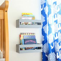 These inexpensive DIY bookshelves save space, and next to a crib allows toddlers freedom play and read by themselves.
