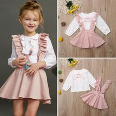 US Toddler Kids Baby Girl Clothes Ruffle Tops+Bib Tutu Dress Overall Outfit Pink Outfits, Baby Outfits, Skirt Outfits, Dresses Kids Girl, Flower Girl Dresses, Overall Skirt, Winter Outfits For Girls, Baby Girl Winter, Winter Kids