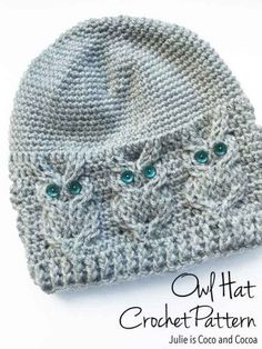 "Owl Hat Crochet Pattern Homesteading  - The Homestead Survival .Com     ""Please Share This Pin"""