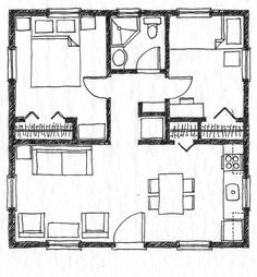 Small Scale Homes: 576 square foot two bedroom house plans - almost the exact layout of my former condo minus the porch. Four Bedroom House Plans, 2 Bedroom Floor Plans, Bathroom Floor Plans, The Plan, How To Plan, Square House Plans, Small House Floor Plans, Up House, House With Porch