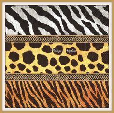 SALE *** 2 PAPER NAPKINS for Decoupage - Animal Patterns Zebra Leopard Tiger #245 by VintageNapkins on Etsy