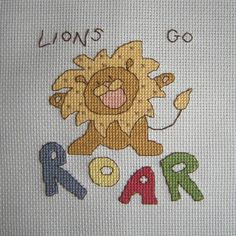 Cross Stitch - Lion panel for Kids Company Project - stitched March 2011