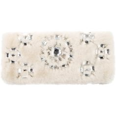 Pre-owned Tory Burch Faux Fur Embellished Clutch (1.155 ARS) ❤ liked on Polyvore featuring bags, handbags, clutches, white, tory burch purse, faux fur handbags, white hand bags, tory burch and white purse