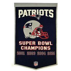 "New England Patriots 24"" x 36"" Genuine Wool Super Bowl Dynasty Banner NFL"