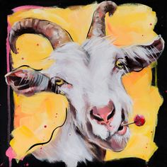 Kari Wang, lives in Kolbotn, outside Oslo. Goat Paintings, Animal Paintings, Goat Art, Cute Goats, Farm Art, Colorful Animals, Aboriginal Art, Painting Inspiration, Cute Art