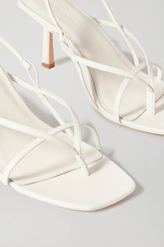 White 2.4 leather sandals | STUDIO AMELIA | NET-A-PORTER Dion Lee, Leather Sandals, Shoes Sandals, Heels, Amelia, Personal Shopping, Proenza Schouler, White Leather, Color Pop