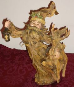 Romans-Inc-WOODLAND-SANTA-CLAUS-Figurine-w-Lantern-Reindeer-10-5
