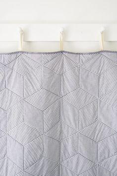 Striped Tumbling Blocks Quilt