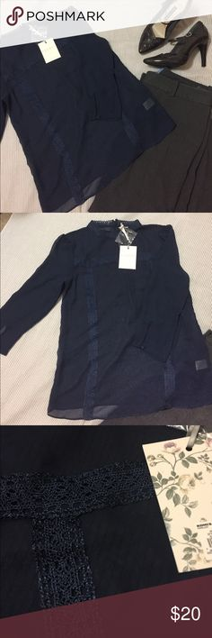 *BRAND NEW* Lauren Conrad Runway Blouse This navy blue blouse is brand new with tags. It is tight in the bust. Please let me know if you have any questions! LC Lauren Conrad Tops Blouses