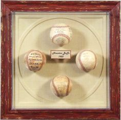 "Autographed collectible baseballs in a custom framed plexibox case with creative mat embossing to resemble the ""bases"" of a baseball diamond #bradleysaf"