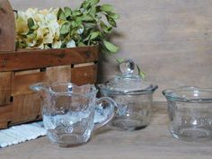 Clear Glass Sugar and Creamer Set Anchor by LittleDixieVintage