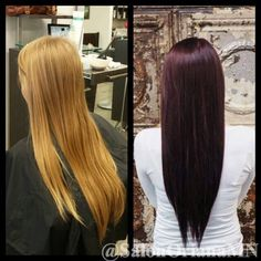 A gorgeous winter transformation by our master stylist and owner, Jessica! She went from a light, natural blonde to a beautiful, rich burgundy. #AvedaColor #Aveda