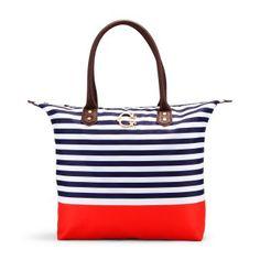 Striped Nylon Easy Tote. Cruise bag!