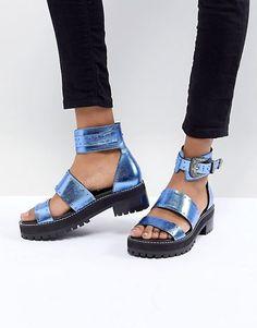 5115dbb87c02 ASOS DESIGN Foxglove Premium Leather Gladiator Flat Sandals Flat Gladiator  Sandals