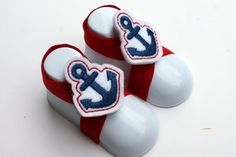 Anchors Baby Barefoot Sandals, Red White and Blue Nautical Elastic Infant Shoes for Boys or Girls on Etsy, $8.00