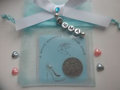 SOMETHING BLUE LUCKY SIXPENCE FOR THE BRIDE *PERSONALISED*