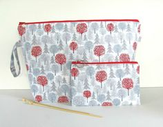 Large Knitting Project Bag with matching Zipper Notions Pouch, Wide Mouth Wedge Knitting Bag, Winter Trees in grey red