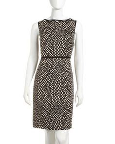 Dot-Print Sheath Dress by Sharagano at Last Call by Neiman Marcus - SO CUTE