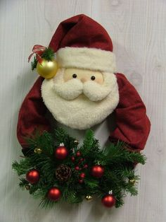 Santa Wreath - Could also be made in miniature as an ornament or wall hanging. Christmas Love, Christmas Colors, Handmade Christmas, Christmas Holidays, Christmas Wreaths, Christmas Decorations, Christmas Ornaments, Christmas Projects, Holiday Crafts
