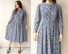 Vintage Laura Ashley Victorian Style Floral Cotton & Wool Mix Midi Dress