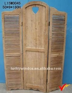 Shabby chic vintage brown wooden room divider