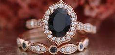 20 anéis de noivado com diamante escuro para as noivas com um lado negro - eNoivado