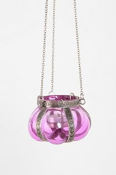 Hanging glass candle holder in lilac purple with silver hardware from Urban Outfitters ($10).