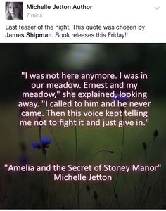 """A fan's favorite quote from Amelia and the Secret of Stoney Manor"""""""