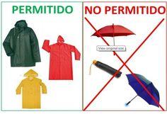 Recuerda que en los conciertos NO debes llevar PARAGUAS. Para la lluvia, usa un PONCHO o IMPERMEABLE. Los PARAGUAS obstruyen la visibilidad y pueden hacer daño