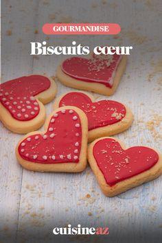Une recette facile de biscuit en forme de cœur pour la Saint-Valentin. #recette#cuisine#biscuit #coeur #saintvalentin#patisserie Sugar, Cookies, Desserts, Drizzle Cake, Sweet Cookies, Pink Frosting, Crack Crackers, Tailgate Desserts, Deserts