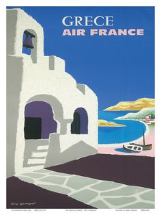 Vintage Travel Poster of Greece for Air France designed by Guy Georget, 1950s