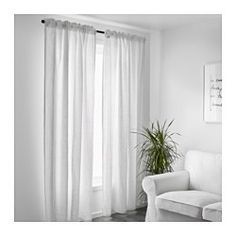 The curtains lower the general light level and provide privacy by preventing people outside from seeing directly into the room. Linen gives the fabric a natural, irregular texture and makes it feel firm to the touch. The curtains can be used on a curtain rod or a curtain track. The heading tape makes it easy for you to create pleats using RIKTIG curtain hooks. You can hang the curtains on a curtain rod through the hidden tabs or with rings and hooks.
