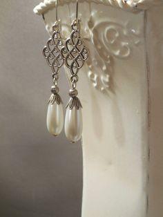 Outlander Pearl Earrings - Medieval Jewelry - Assemblage Earrings - Celtic Jewelry - Renaissance Jewelry - Tudor Reproduction Jewelry by BohemeBijou on Etsy