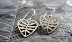 Heart Earrings in stainless steel, silver earrings, valentines day, heart jewelry, gift for girlfrie Brass Jewelry, Heart Jewelry, Heart Earrings, Silver Earrings, Stainless Steel Earrings, Leather Cuffs, Bracelet Designs, Jewelry Making, Pendant