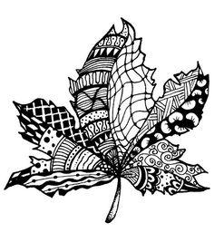 Magenta Zentangle Leaf Rubber Cling Stamps