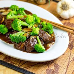 Beef & Broccoli Recipe ♥ Ever wonder how Chinese restaurants are able to take any cut of beef and give it that wonderful, melt-in-your-mouth slightly spongy texture?  This recipe has the secret.  ♥