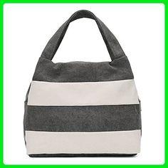 Hiigoo Ladies Handbag Stripes Daily Packages Travel Bag Canvas Bags Shopping Bag Ipad Bag (Grey) - Top handle bags (*Amazon Partner-Link)