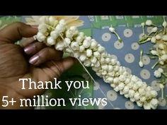How to string Nandiavattam flower garland??? - YouTube