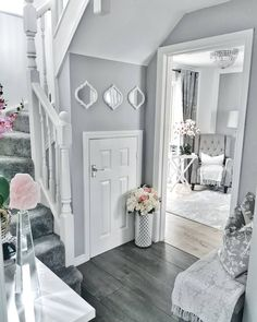 fantastic hallway decorating ideas for your home 7 Decor Home Living Room, Home Decor Kitchen, Decor Room, Wall Decor, Hallway Inspiration, Home Decor Inspiration, Design Inspiration, Grey Hallway, Modern Hallway