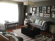 cute greys and blues - paint in room = revere pewter with an accent wall of chelsea grey