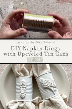 Instead of buying cheap napkin rings, upcycle tin cans and make your own. Using IOD moulds, homemade napkin rings are a quick and easy DIY decor craft. Diy Home Decor Projects, Decor Crafts, Decor Ideas, Recycle Cans, Upcycle, Rustic Napkin Rings, Recycled Crafts, Recycled Clothing, Recycled Fashion