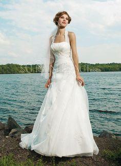 A-Linie Neckholder Organza Hochzeitskleider mit Kapelle-Schleppe [#UD8473] - schoenebraut.com
