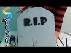 Lápida con calavera para Halloween - Manualidades de Halloween - YouTube