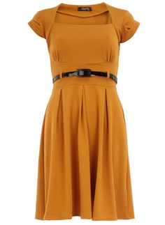 Style: Eleven Gorgeous Frocks To Covet  Mustard bolero flared dress - Dorothy Perkins United States