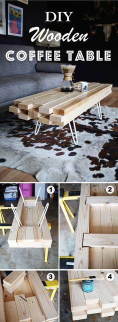DIY Wooden Coffee Table / Use just a bunch of 2×4's to create this unusual coffee table.