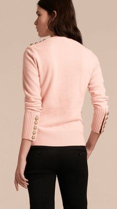 Blossom Cashmere Sweater with Crested Buttons 3