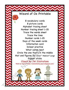 Wizard of Oz Printable product from Preschool-Printable on TeachersNotebook.com