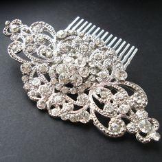 Victorian Style Rhinestone Bridal Hair Comb, Vintage Wedding Hair Accessories, Crystal Wedding Hair Comb, Statement Hair Piece, ANDORRA
